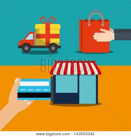 shopping bag credit card truck gift store online payment ecommerce icon. Flat illustration. Vector graphic