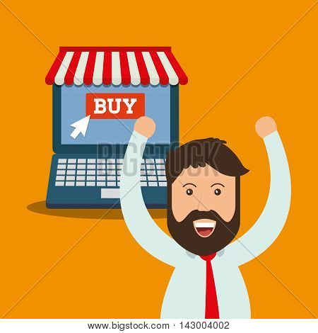 laptop man online payment shopping ecommerce icon. Flat illustration. Vector graphic