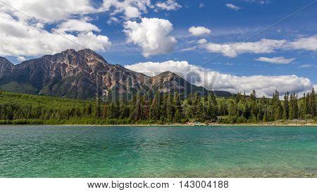 Patricia Lake and Pyramid Mountain in Jasper National Park Alberta, Canada