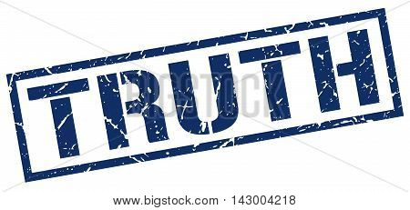 truth stamp. blue grunge square isolated sign