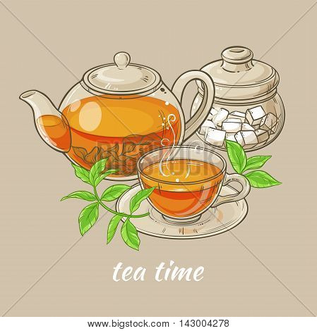 Illustration with cup of tea teapot sugar bowl and tea leaves on brown background