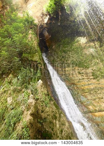 Waterfall in En Gedi Nature Reserve and National Park Israel