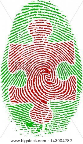 Fingerprint with Puzzle 3D Rendered