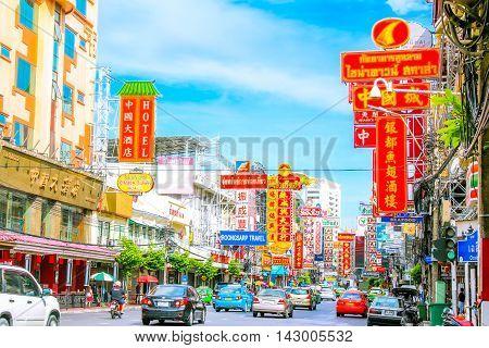 YAOWARAT, BANGKOK, THAILAND - 30 JULY, 2016: Traffic In the morning of chinatown Thailand, Yaowarat is a major of gold trading market in Bangkok. on July 30, 2016 in Bangkok Thailand.