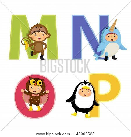 English alphabet with kids in animal costume M to P letters