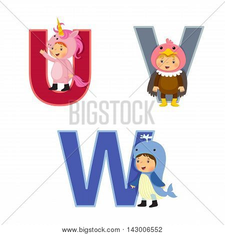 English alphabet with kids in animal costume U to W letters