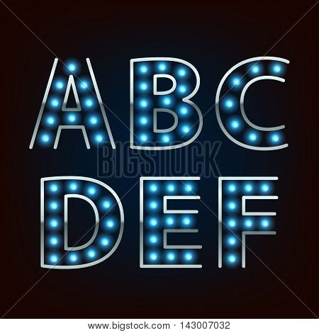 Bulb lamp neon letters abc vector illustration. Blue lights with silver rim. Good for retro signboard poster banner flyer design.