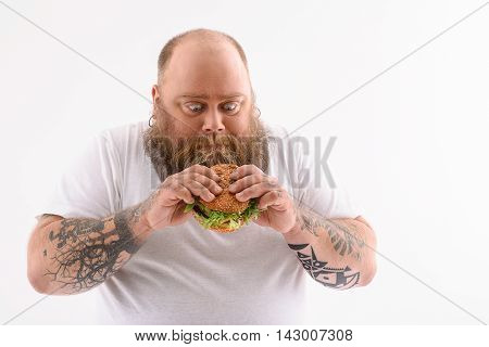 Thick man is holding burger and looking at it with desire. Isolated