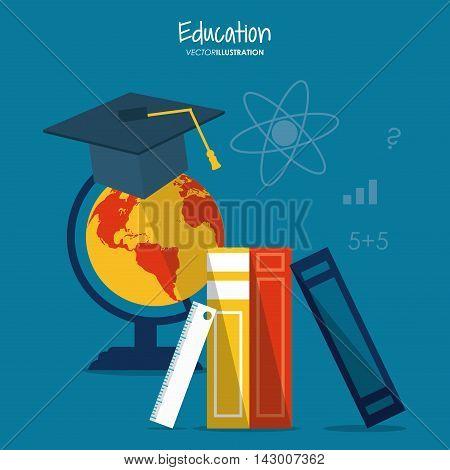graduation cap books planet sphere education learning school icon. Colorful design. Vector illustration