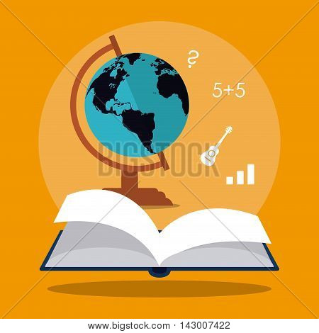 book planet sphere education learning school icon. Colorful design. Vector illustration