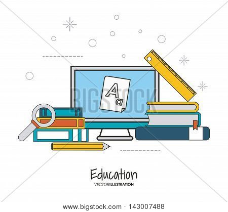 laptop book pencil lupe education learning school icon. Colorful design. Vector illustration
