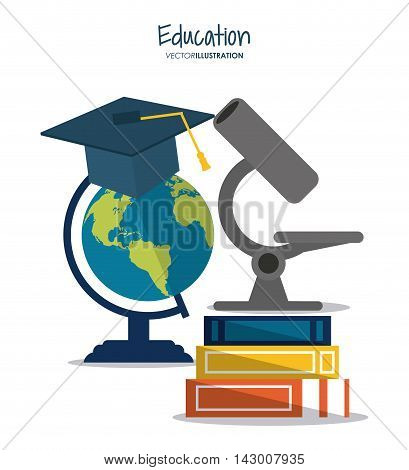 book planet sphere microscope graduation cap education learning school icon. Colorful design. Vector illustration