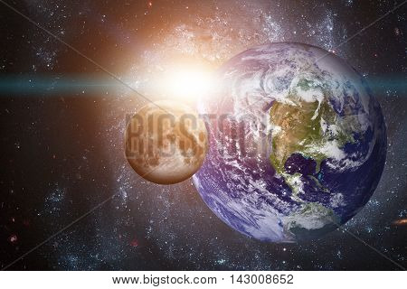 Solar System - Planet Earth. Earth is the largest and densest of the inner planets. It has one natural satellite, the Moon. Elements of this image furnished by NASA.