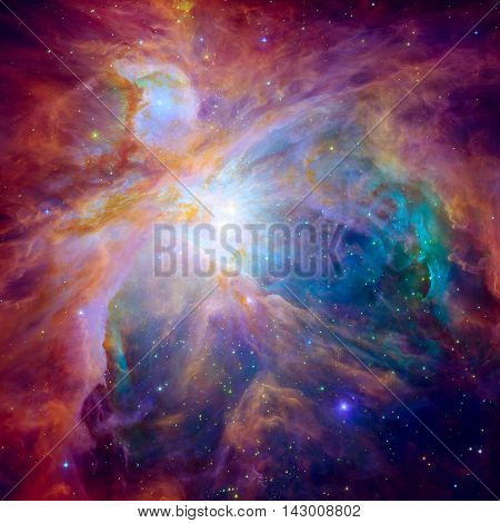The Orion Nebula. Space with stars, nebula and galaxy. Elements of this image furnished by NASA.
