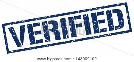 verified stamp. blue grunge square isolated sign