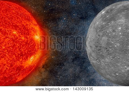 Solar System - Mercury. It is the smallest and closest to the Sun of the eight planets in the Solar System, with an orbital period of about 88 Earth days. Elements of this image furnished by NASA.
