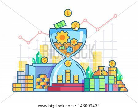 Time is money flat concept. Capitalization and earnings finances. Vector illustration