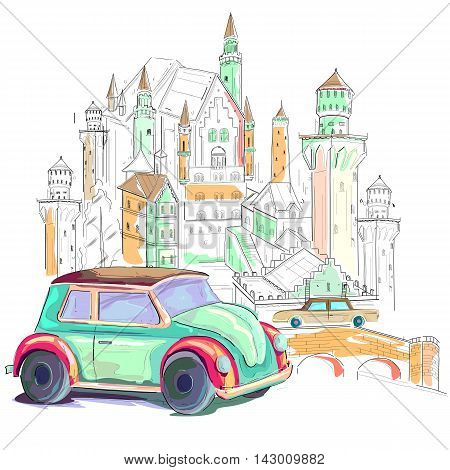 easy to edit vector illustration of Germany cityscape