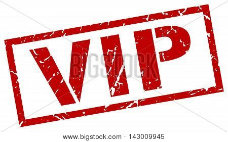 vip stamp. red grunge square isolated sign
