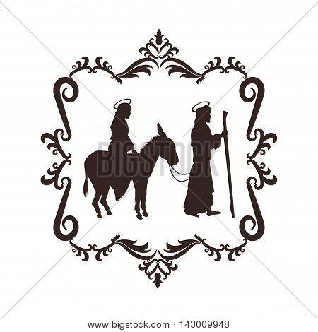joseph maria holy family merry christmas frame icon. Black white isolated design. Vector illustration