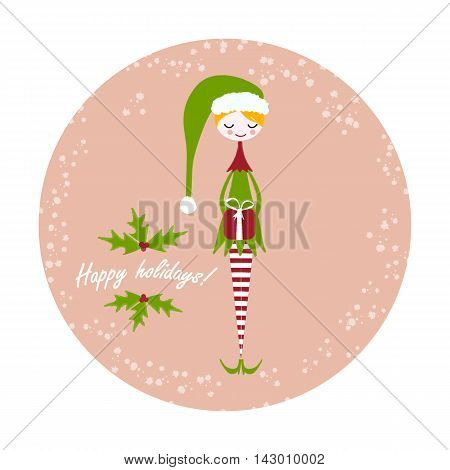 Cute christmas elf in cartoon style holding a gift .Pastel background with snow holly leaves and berries and text