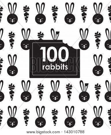Seamless pattern with bunny and. Rabbit pattern