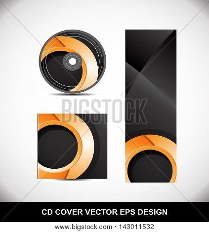 Cd Dvd cover movie music vector template design illustration for business orange circle