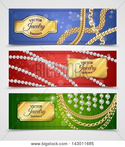 Jewelry realistic horizontal banners set with chains and earrings isolated vector illustration