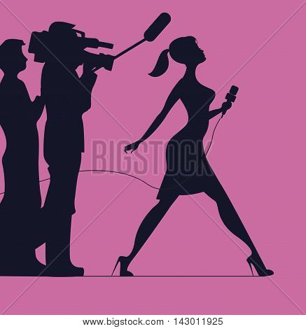 Silhouette of women with microphone. Profession: TV reporter Journalist. Silhouette of women on a pink background