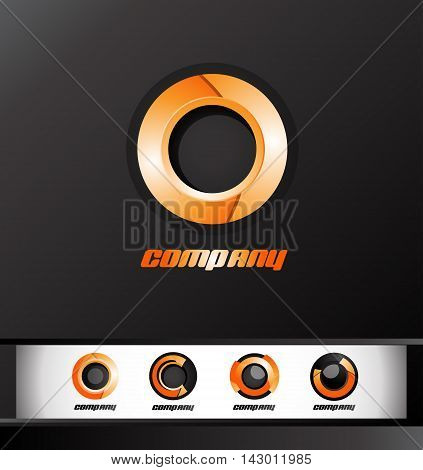 Orange circle logo design 3d icon vector company element template games media corporate business