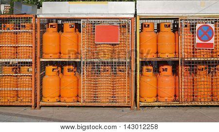 Gas Cylinder Bottles at Petrol Station Warehouse