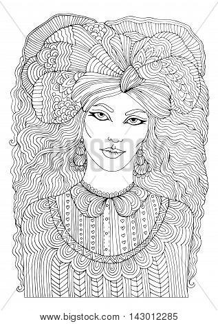 Vector hand drawn portrait of fashionable woman with long wavy hair in a patterned shirt and voluminous scarf on head. Pattern for coloring book A4 size. Coloring book for adults. Zentangle drawing.