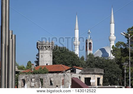 Ebu Bekr Mosque Towers in Shkoder Albania