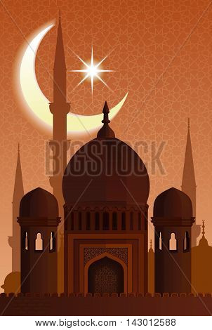 Arab architecture. Mosque moonlit night. Urban background for Holy Fasting Month of Muslim Community Ramadan Kareem celebration. Vector illustration