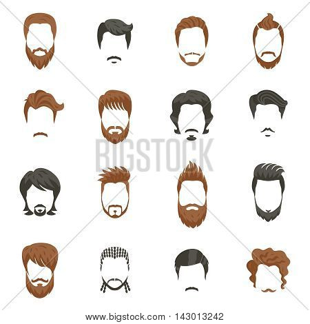 Men hairstyle icons set with beard and moustache flat isolated vector illustration