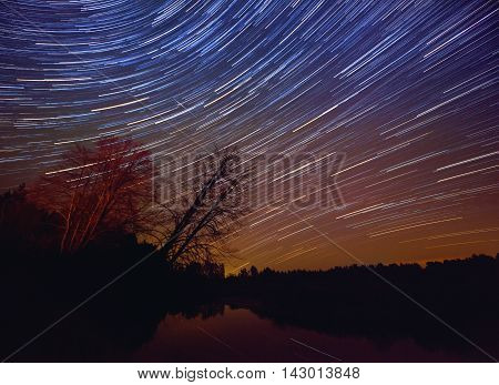 A long exposure of the sky over a lake with the star trails