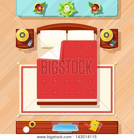 Bedroom top view design with bed TV lamps and flowers flat vector illustration