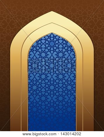 Arabic architecture. Islamic design background. Arabic pattern on mosque window. Vector illustration