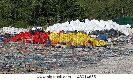 Plastic Crates and Barrels Scrap for Recycling