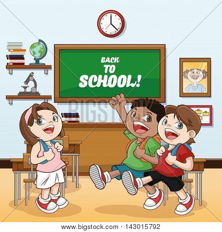 kids girl boys classroom back to school cartoon icon. Colorful design. Vector illustration