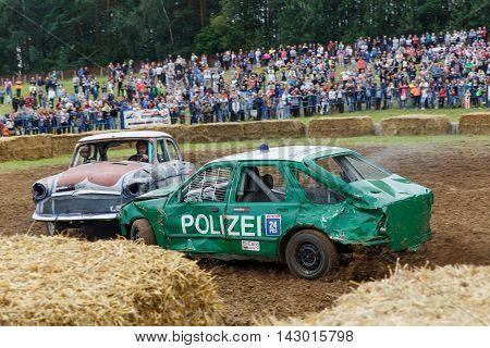 GRODNO BELARUS - AUG 13: Car fighting for survival on August 13 2016 in Grodno Belarus