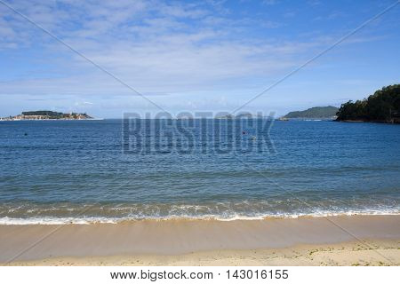sea in Baiona, Pontevedra, a tourist town located in the Ria de Vigo. Galicia, Spain