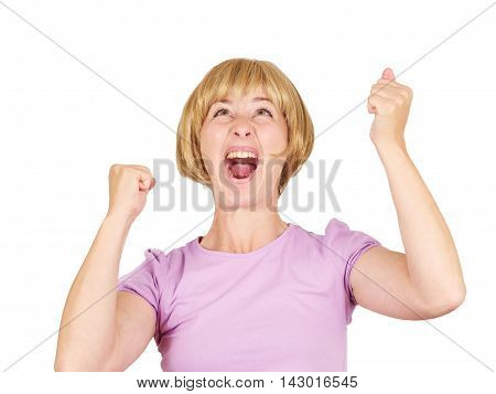 Success Concept - Successful Young Blonde Girl Winning