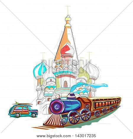 easy to edit vector illustration of Russia cityscape