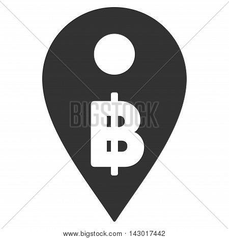 Thai Baht Map Marker icon. Glyph style is flat iconic symbol with rounded angles, gray color, white background.