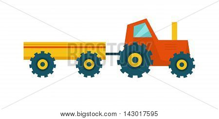Tractor with trailer vector. Flat style design. Farm machinery and instruments concept. Illustration for farming and agricultural theme illustrating, app icons, ad, infographics. Isolated on white.