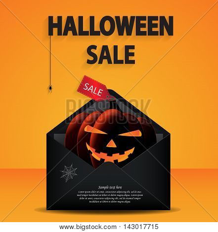 Halloween sale. Pumpkin with price tag in black envelope with space for your text. Vector illustration.