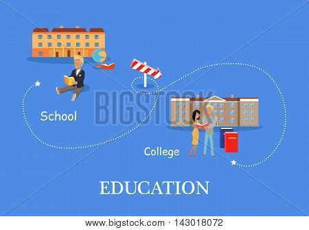 Education process from school to college. Schoolboy with book on the background of school building. Two students stand with book on the background of college building. Education concept