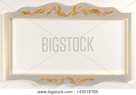 White foto frame with gold drawing. 3D illustration