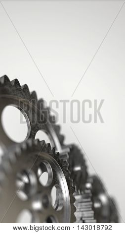 Machine metal gear mechanism background. 3D illustration